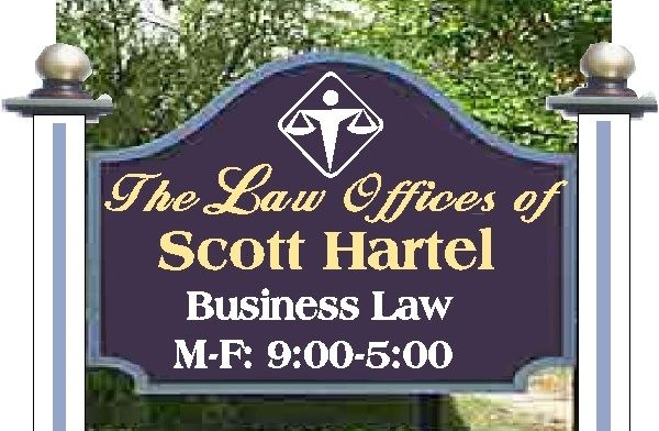 A10130 - Gold & Blue Lawyer Wood Sign with Wooden Posts