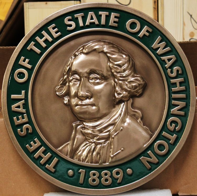 W32526 - Carved 3-D Bronze-Plated Plaque of the Great Seal of the State ofWashington