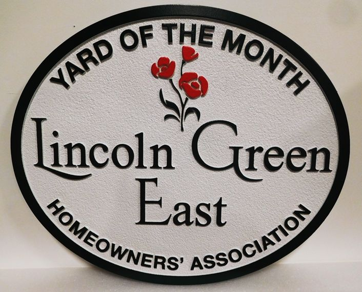 "KA937- Carved and Sandblasted Yard-of-the-Month Sign for ""Lincoln Green East"" HOA"