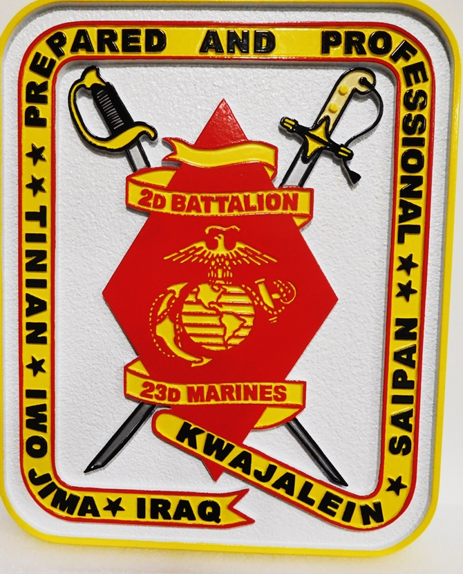 KP-2380 - Carved Plaque of the Crest of the 2nd Battalion, 23rd Marines