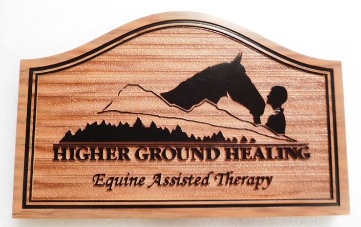 "P25335 - carved and Sandblasted Wood Grain Entrance Sign for the ""Higher Ground Healing""  Facility with a  Silhouette of a Horse and Person, Mountains and Trees as Artwork"