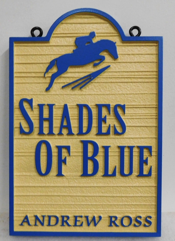 "P25350 - Carved and Sandblasted Wood Grain Entrance Sign for the ""Shades of Blue"" Facility with an Equestrian Jumping as Artwork"