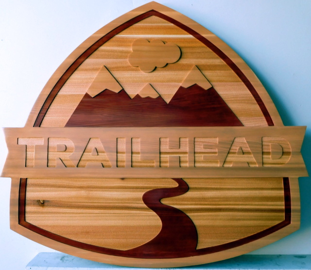 G16104 - Carved Cedar Wood Sign for Trail Head