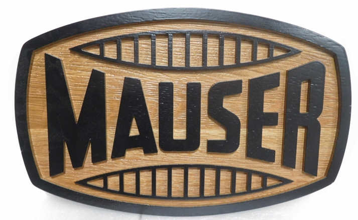 "S28122- Carved  and Sandblasted Cedar Wood  Commercial Sign  for the ""Mauser""  Company,  2.5-D Artist-Painted"