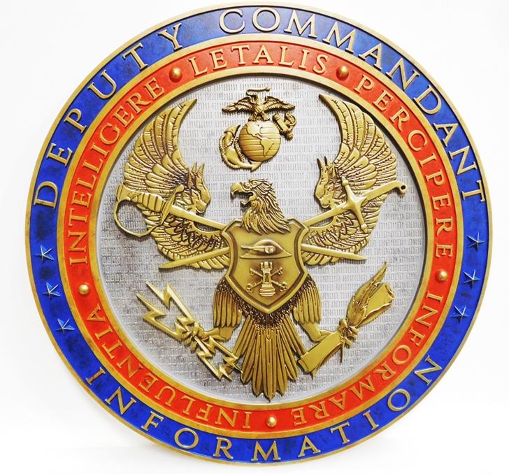 XP-1311 - Carved Plaque of the Seal of a Unit of the US Marine Corps,  with Eagle, Crossed Swords and Emblem