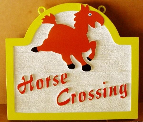 P25510 - Carved, Sandblasted Wood Look HDU Horse Crossing Sign with Cartoon of Horse