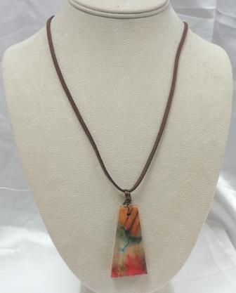 Turning Leaf-Acrylic Wood Rectangle Necklace