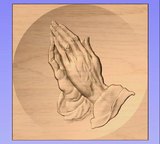 M3975 - Carved Oak Applique, Hands in Prayer
