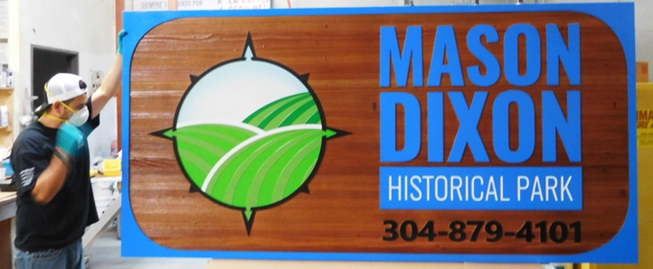 GA16426 - Large Carved Stained Redwood Entrance Sign  for the Mason-Dixon Historical Park