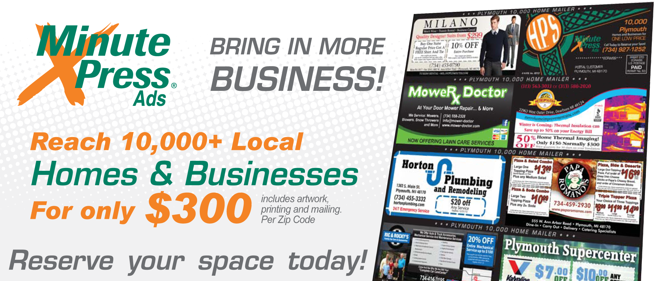 10,000 Home Mailer EDDm Every Door Direct Mail Plymouth MI