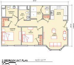 2 Bedroom 903 SF
