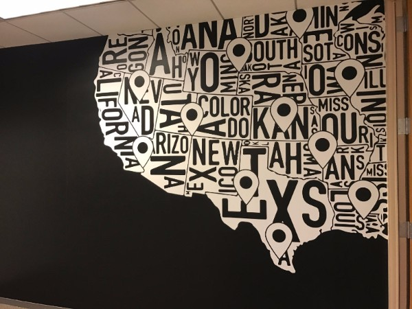 Wall Map Office Mural for Businesses in Orange County CA