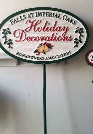"KA20949- Sign with Removable Iron Stake for Winner of HOA  ""Home Holiday Decorating Contest"""