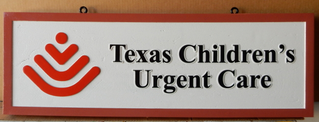 "B11071  - Sign for ""Texas Children's Urgent Care"" with Carved Raised Logo and Trim"