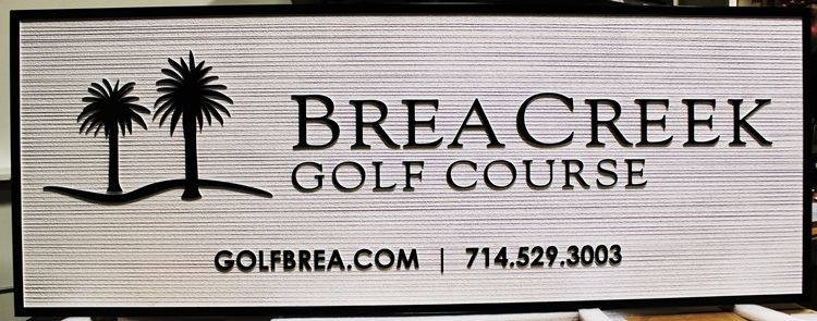 E14146 - Carved 2.5-D and Sandblasted Wood Grain HDU  Entrance Sign for the Brea Creek Golf Course