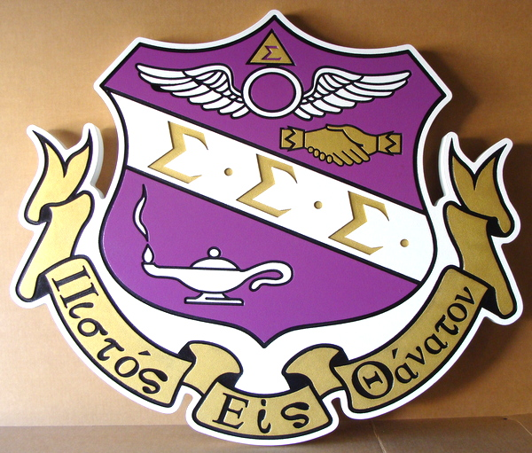 Y34585 - Carved 2.5-D (Flat Relief)  HDU  Wall Plaque  for Sigma Sigma Sigma Sorority Coat-of-Arms - Gold Metallic Paint