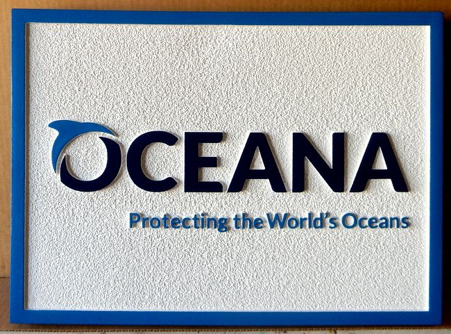 """S28081 - Carved Sandstone-Texture HDU Sign for """"Oceana- Protecting the Earth's Oceans,""""  with Dolphin Logo"""