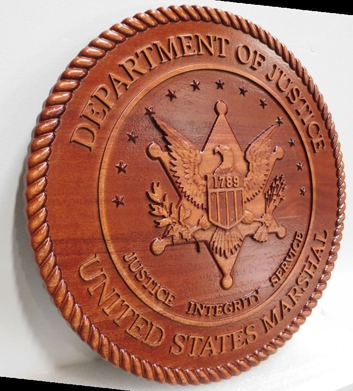 U30396 - Carved 3D Mahogany Plaque of the Seal of the United States Marshal Service