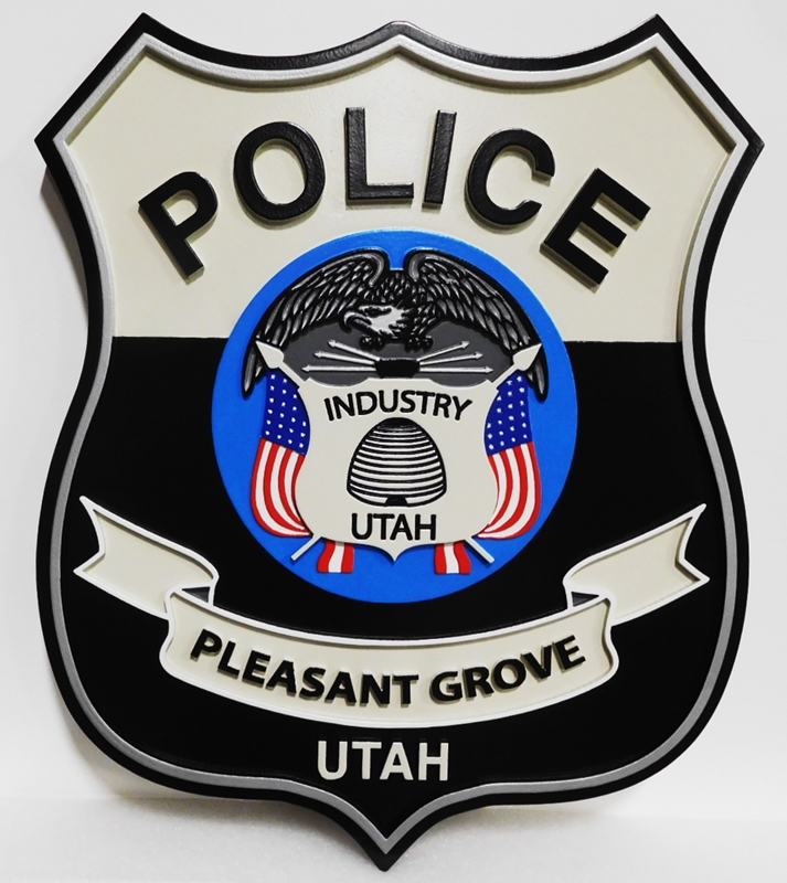 PP-3151- Carved Badge Plaque of the Seal of the Police Department of  Pleasant Grove, Utah, 2.5-D Artist-Painted