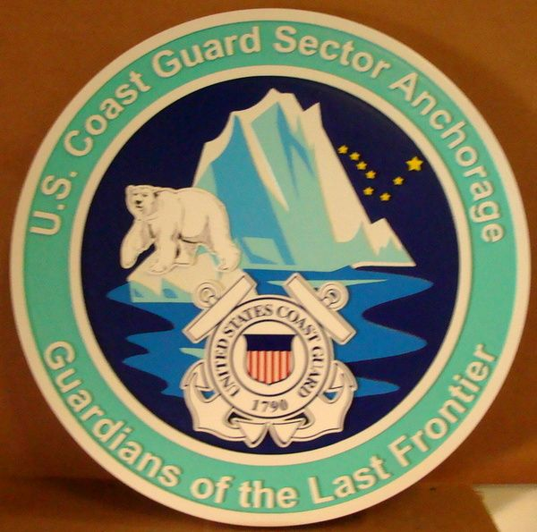 """V31977 - 2.5D Carved HDU Wall Plaque of the Crest/Seal  of the US Coast Guard Sector Anchorage, """"Guardians of the Last Frontier"""", with Polar Bear and Ice"""
