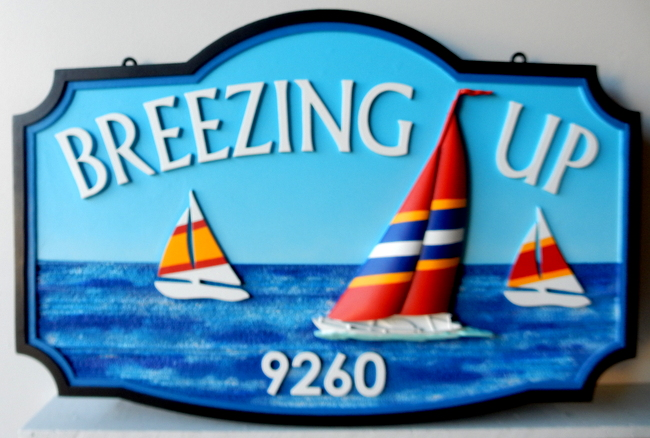 "L21302 - Carved 3-D Sign Featuring Sailboats Racing in Regatta ""Breezing Up"""