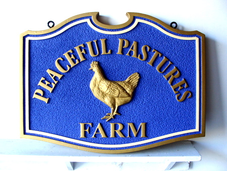 O24457 - Entrance Sign for Poultry Farm, with 3-D Carved Chicken