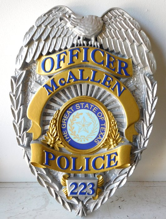 PP-1360 - Carved Wall Plaque of the Police  Badge of  the City of McAllen, Texas,  Artist Painted