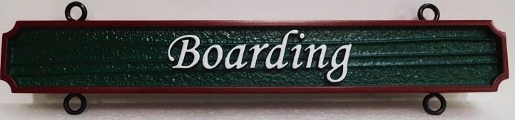 """P25365 - Carved and Sandblasted Hanging  """"Boarding"""" Sign"""