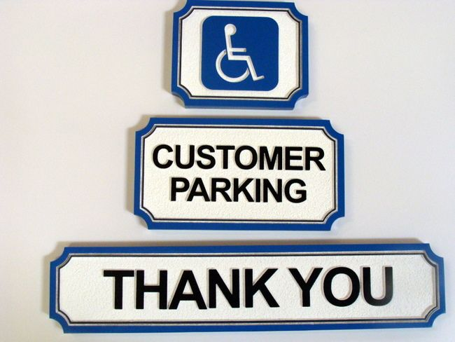 """SA28751 - Carved HDU (Wood Available) Signs: """"Thank You,"""" """"Customer Parking,"""" and the Handicapped Symbol Sign"""