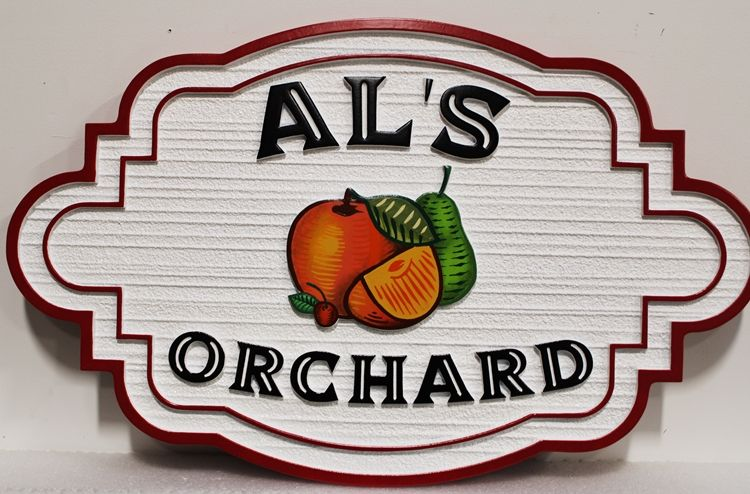 """O24709 - Carved and Sandblasted Wood Grain HDU Sign for """"Al's Orchard"""", with an Apple, Orange and Pear as Artwork"""