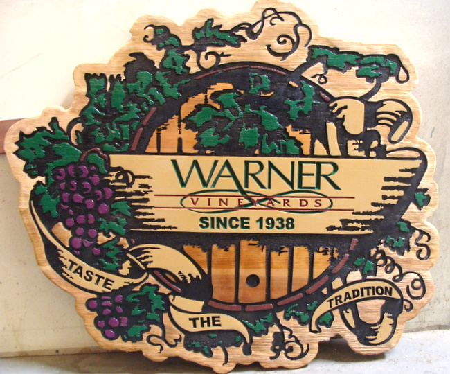 R27051 - Entrance Sign for Warner Vineyards, Sandblasted and Engraved Cedar with Grape Cluster and Vine Art