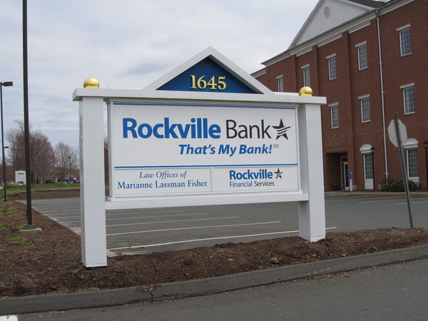 Post & Panel, Office Building,  Direcrory Sign, Vinyl Graphics on an Aluminum Cabinet and Posts, Gold Leafed Ball Finials