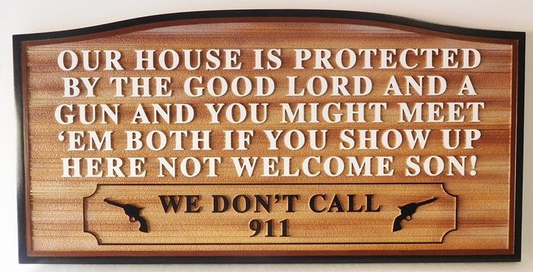 "N23182 - Carved and Sandblasted (wood grain) HDU Wall Plaque above, with a saying""Our House is protected by the good Lord..."""