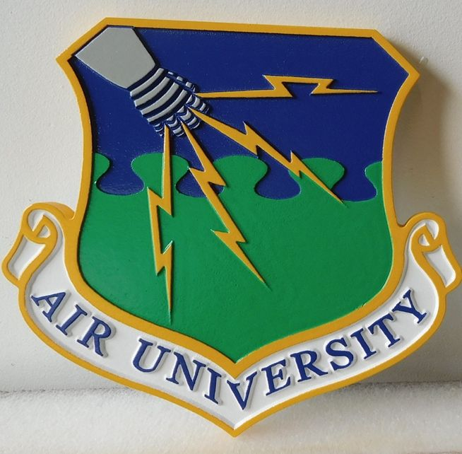 V31593A - Carved Wall Plaque of the Crest for USAF Air University