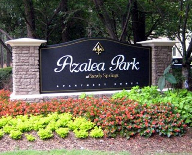 K20032 - Monument Entrance Sign for Azalea Park Apartment Homes. Faux Stone Pillars
