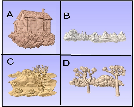 M22965 - Carved 3D Appliques of a Cabin, Mountain and Desert Scenes