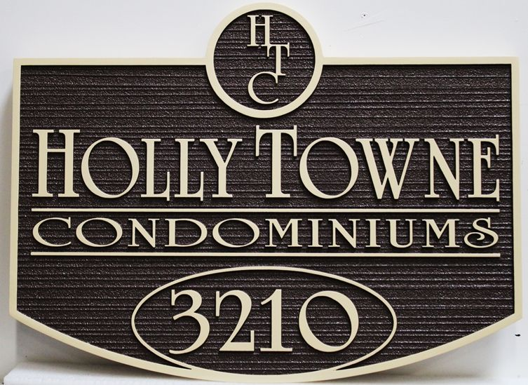 "K20402 -  Carved High-Density-Urethane (HDU)  Entrance and Address Sign for the ""Holly Towne"" Condominiums"
