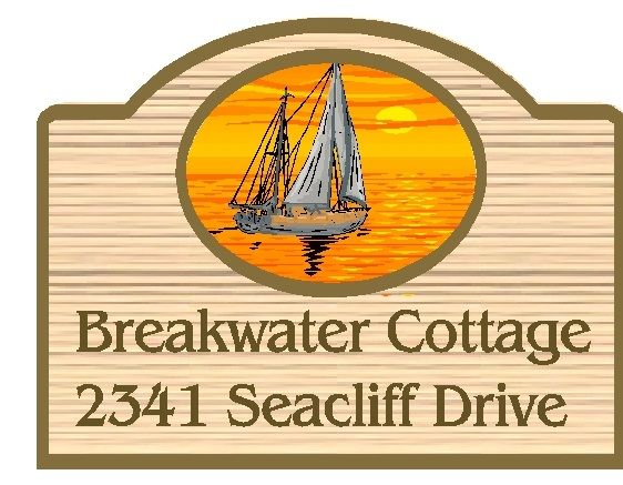 "L21264 - Carved  ""Breakwater Cottage"" Address Sign,  with Ketch Sailboat and Setting Sun"