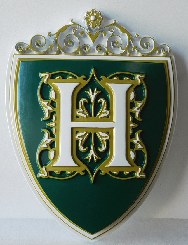 N23350 - Carved 3-D Hand-Painted  Wall Plaque of Green and Metallic Gold Coat-of-Arms