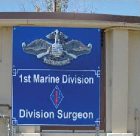 V31425 - Carved 3D USMC Emblem on Division Surgeon Sign at Camp Pendleton