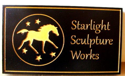 P25235 - Engraved Wood Sign with Horse in Profile