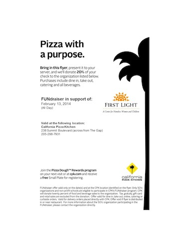 Pizza with a Purpose at CPK on Feb 13th