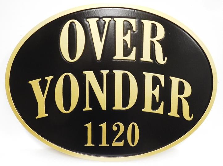 """I18825 - Carved  Property Name Sign """"Over Yonder"""""""