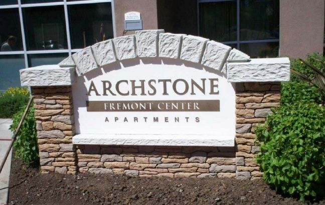 K20029 - EPS Monument Sign for Apartment Complex with Faux Stone Pillars and Faux Cement Blocks