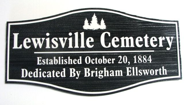 GC16210 - Carved  and Sandblasted Wood Grain High-Density-Urethane (HDU) Entrance Sign for the Lewisville Cemetery