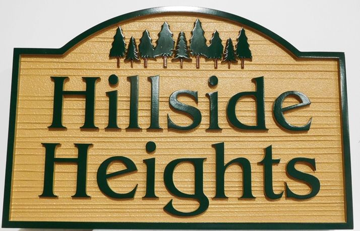 "K20385 - Natural-looking Carved and Sandblasted Wood Grain  High-Density-Urethane (HDU)  Entrance Sign for a Residential Community, ""Hillside Heights"", with Grove of Fir Trees as Artwork"