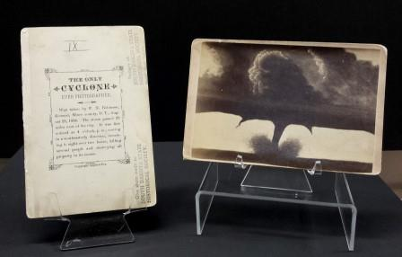 Tornado photo from August 1884 on display at Cultural Heritage Center