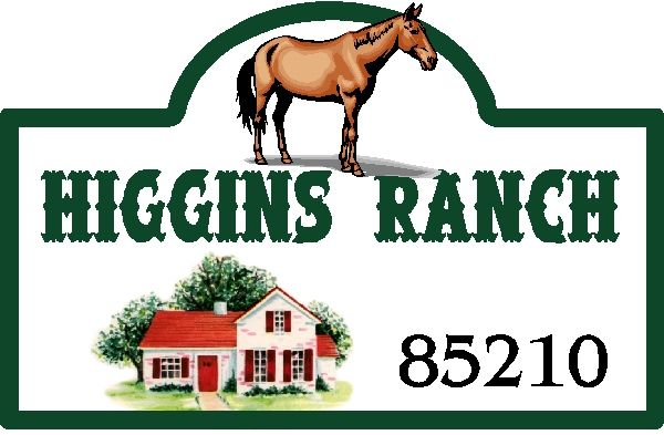 O24819 - Design of Ranch Sign with House and Horse