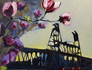 Steel Bridge with Magnolias
