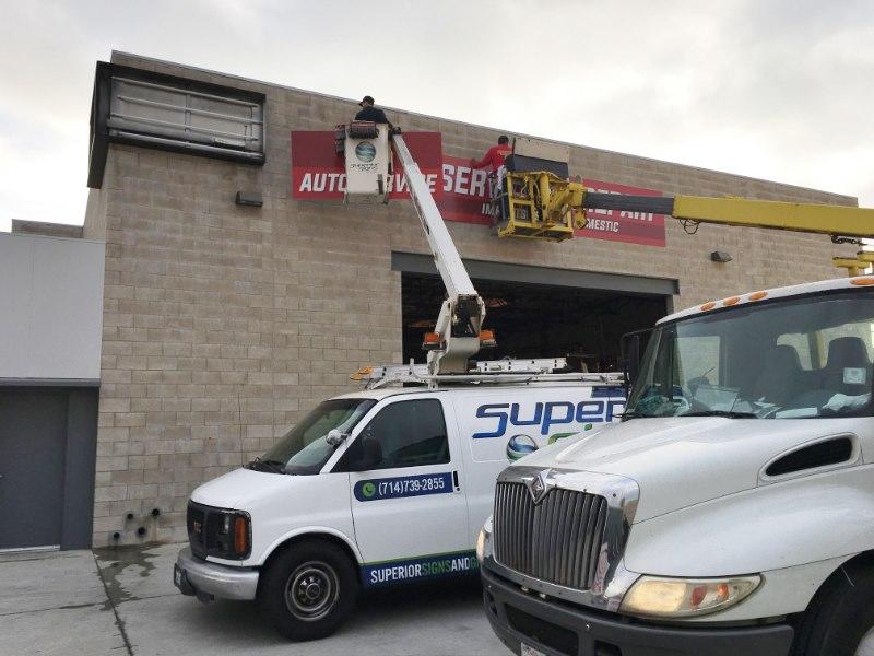 Auto Repair Sign Installation Fullerton CA